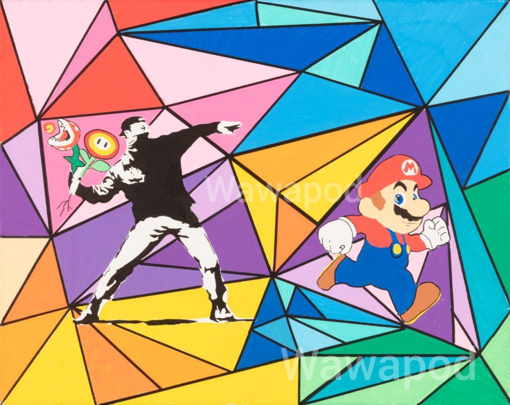 """Run"" / 40x50cm (Banksy , Mario) / 2020"