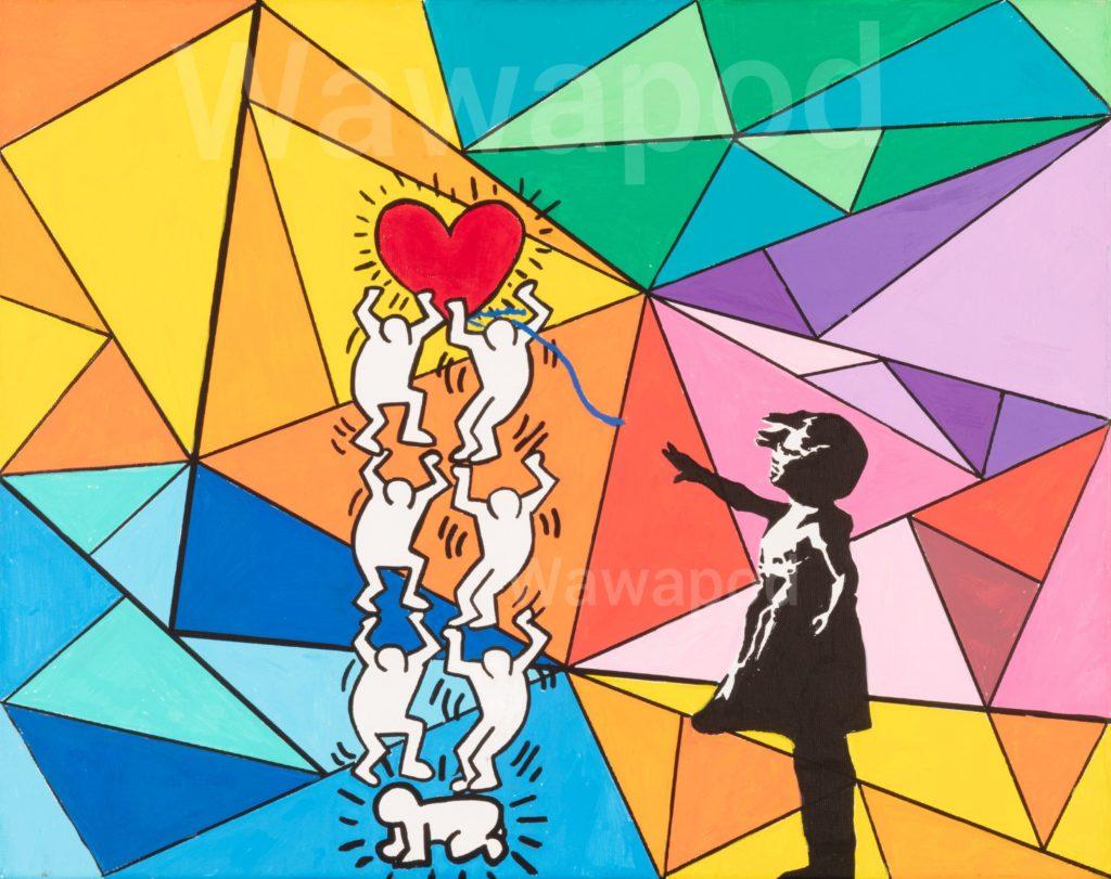 """""""A bras le coeur"""" / 40x50cm (Banksy/Keith Haring) / 2020"""